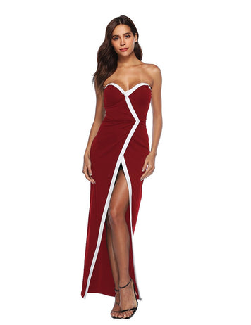 New Sexy Sweetheart Front Split Long Burgundy Party Dress