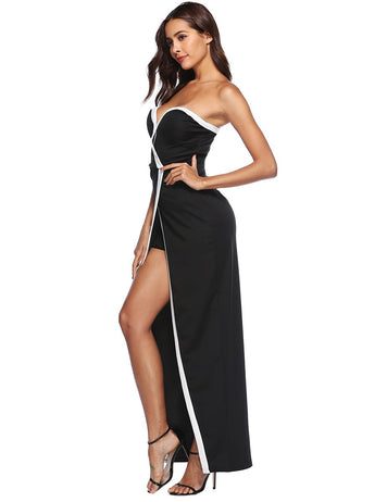 New Sexy Sweetheart Front Split Maxi Black Party Dress