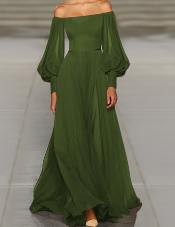 Off Shoulder Army Green Chiffon Dress