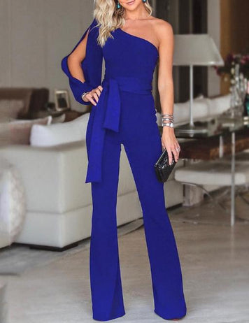 One-shoulder Sleeve Tied Belt Waist Solid Fashion Jumpsuit