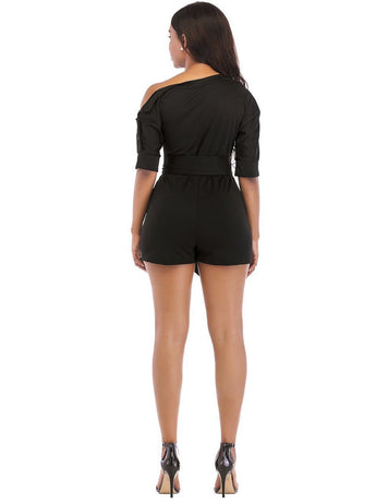 One Shoulder Oblique Button Black Sexy Playsuit