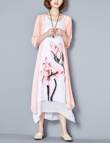 Pink Floral 3/4 Sleeves Midi Shift Dress