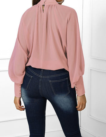 Pink Lantern Sleeve Wide Cuff Ruched Blouse