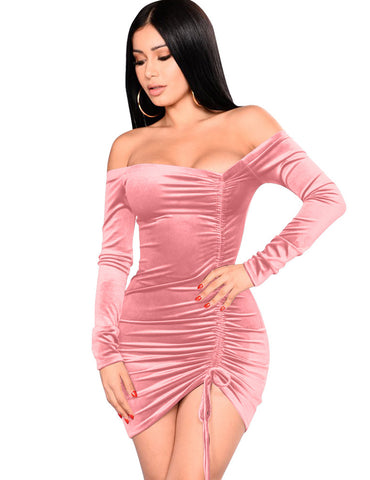 Pink Pleuche Drawstring Pleated Slash Neck Mini Bodycon Dress