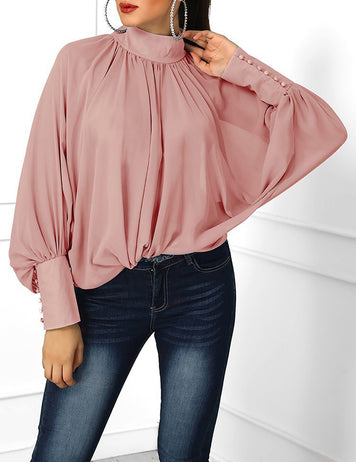 Pink Pleated Stand Collar Bat Sleeve Loose Chiffon Blouse