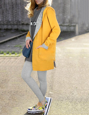 Plus Size Candy Color Long Sleeve Pocket Loose Wool Hooded Coat