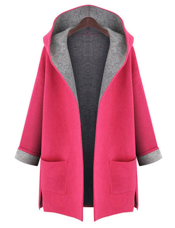 Plus Size Candy Color Long Sleeve Pockets Loose Wool Hooded Coat