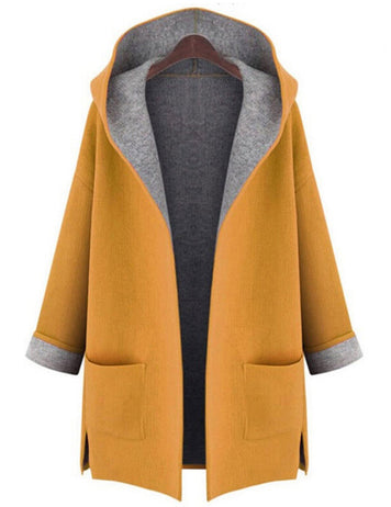 Plus Size Candy Color Long Sleeve Pockets Wool Hooded Coat