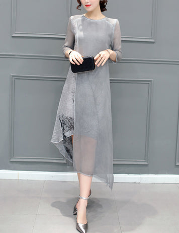 Plus Size Grey Midi Asymmetrical Dress