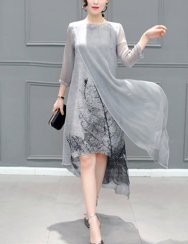 Plus Size Grey Vintage Ink Leaf  Printed Organza 3/4 Sleeve Asymmetric Shift Casual Dress