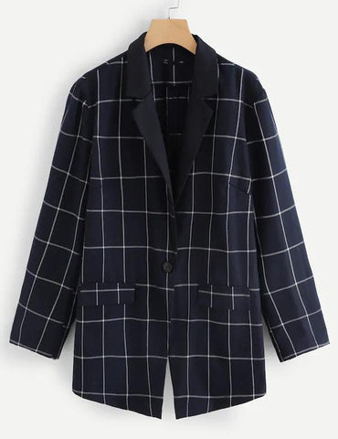 Plus Size Long Sleeve Notched Collar Pockets Navy Plaid Blazer