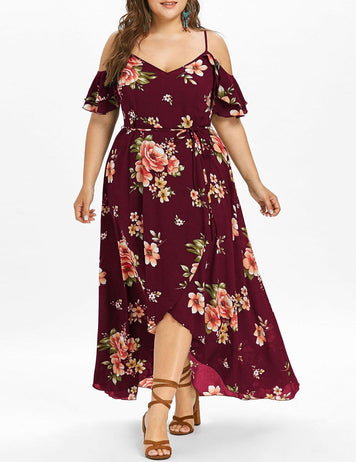 Plus Size Off Shoulder Floral Print Sexy Maxi Dress