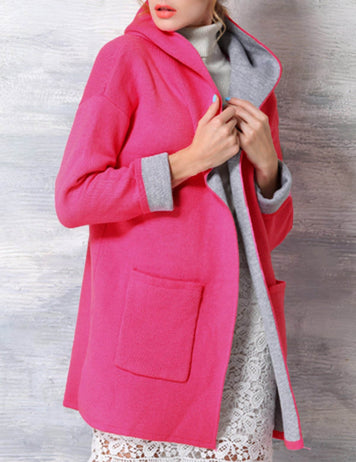 Plus Size Red Long Sleeve Loose Casual Wool Hooded Coat