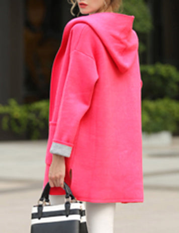 Plus Size Red Long Sleeve Loose Wool Hooded Coat