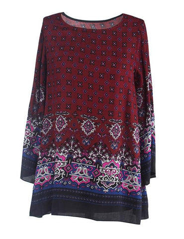 Plus Size Retro Ethnic Baroque Printed Casual Long Sleeve Mini Dress