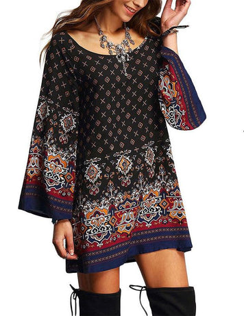 Plus Size Retro Ethnic Printed Casual Long Sleeve Mini Dress