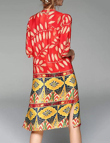 New Diamond V-Neck Loose Slit Gold Leaf Print Silk Midi Dress