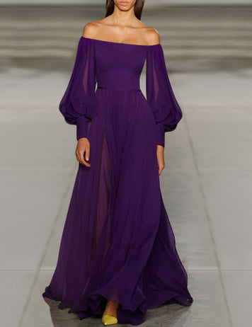 Purple Chiffon Balloon Sleeve Maxi Dress