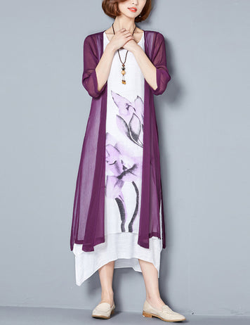 Purple Floral 3/4 Sleeves Midi Shift Dress