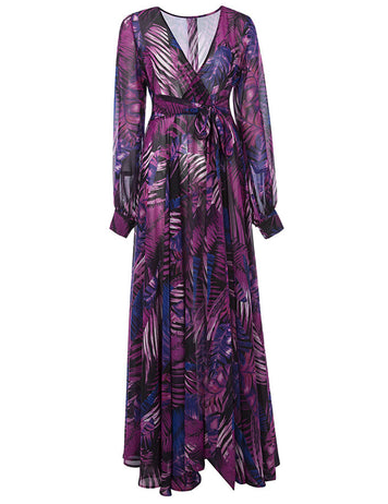 Purple Tropical Beach Dress Long Sleeve Maxi Dress