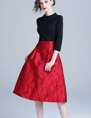 Red-Black A-Line Casual Jacquard Christmas Party Midi Dress