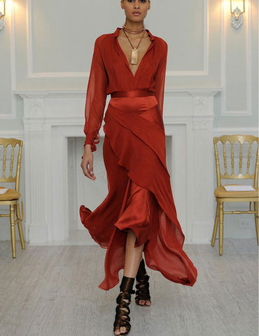Red Deep V Neck Long Sleeves Paneled Irregular Pendulum Evening Dress