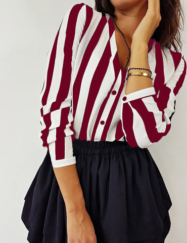 Red Stripes Button Up Long Sleeve Blouse