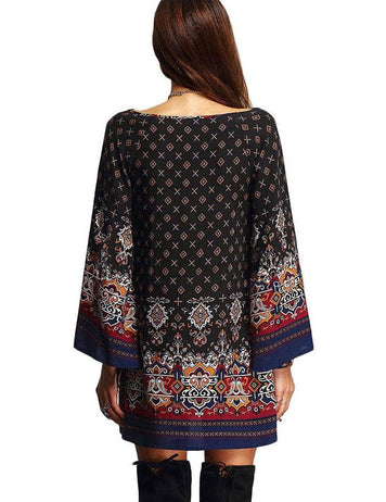 Retro Ethnic Baroque Printed Plus Size Casual Long Sleeve Dress