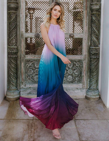 Romantic Sleeveless Chiffon Gradient Halter Maxi Dress