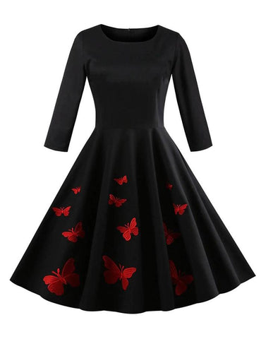 A-Line Plus Size Round Neck Embroidery Long Sleeve Retro Dress