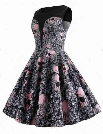 Round Neck Halloween Skull Printed Sleeveless Vintage Dress