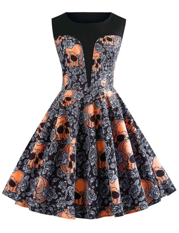 New Plus Size Halloween Skull Printed Sleeveless Vintage Dress