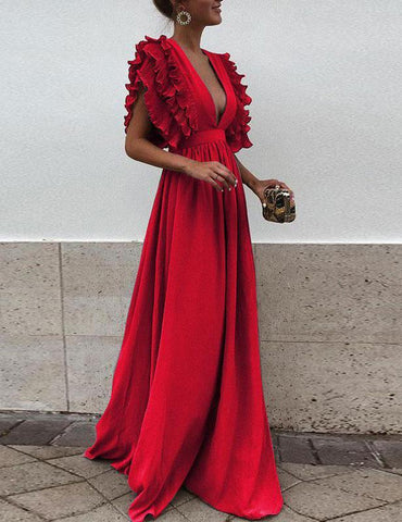 Red Ruffled Sexy Party Maxi Dress