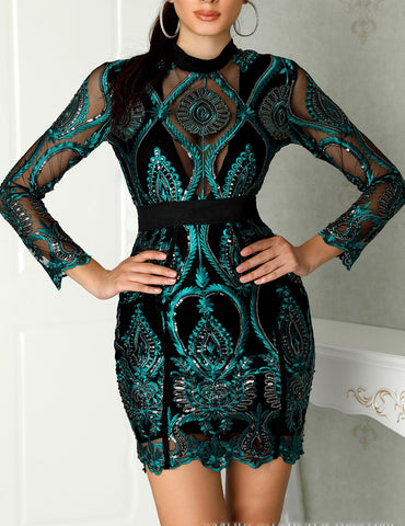 Sequins Embroidery Lace Tulle Perspective Bodycon Dress