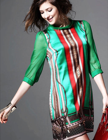 Seven-Tenths Sleeves Mexican Printing Boho Chic Silk Dress