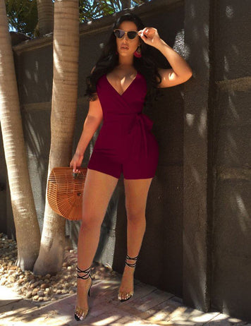 Sexy Deep V-Neck Tied Bowknot Waist Burgundy Jumpsuit