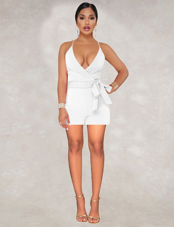 Sexy Deep V-Neck Tied Bowknot Waist White Jumpsuit