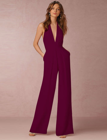 Sexy Halter Deep V-Neck Sleeveless Burgundy Casual Jumpsuit