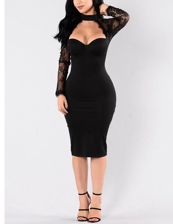 Sexy Keyhole Lace Stitching Bodycon Long Sleeve Midi Dress