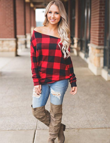 Sexy Off Shoulder Long Sleeve Autumn New Red Striped  Top