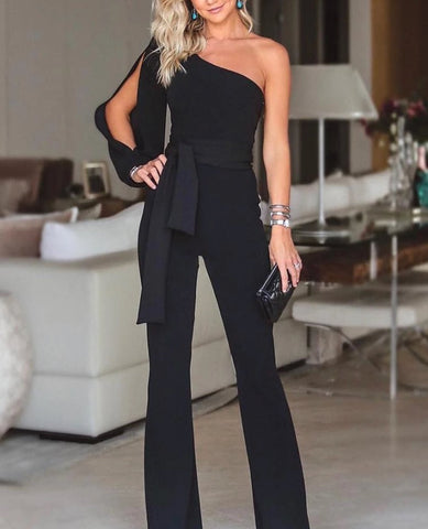 Sexy One-shoulder Sleeve Tied Belt  Solid Fashion Jumpsuit