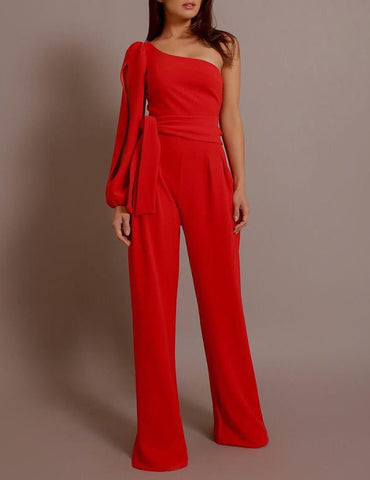 Sexy One-shoulder Sleeve Tied Belt Waist Fashion Jumpsuit