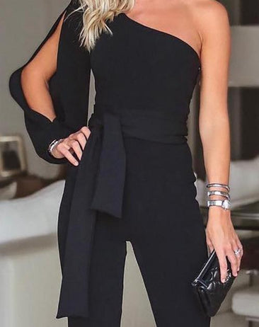 Sexy One-shoulder Sleeve Tied Belt Waist Jumpsuit
