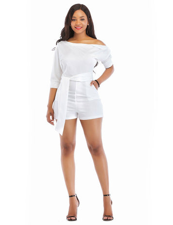 Sexy One Shoulder Classic Oblique Button White  Playsuit