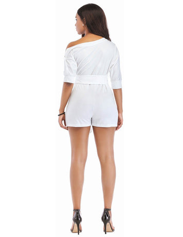 Sexy One Shoulder White Oblique Button Playsuit