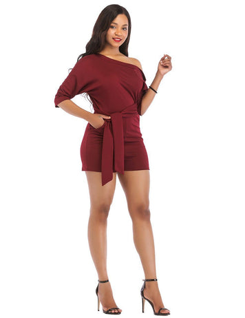 Sexy One Shoulder Classic Burgundy Oblique Button Playsuit