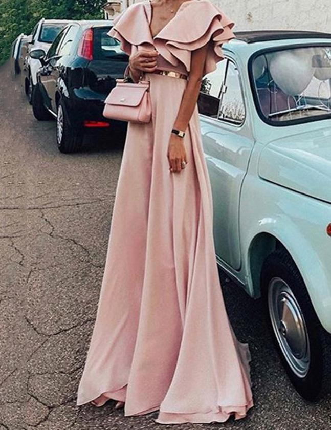 Sexy V Neck Ruffle Short Sleeve High Waist Maxi Dress