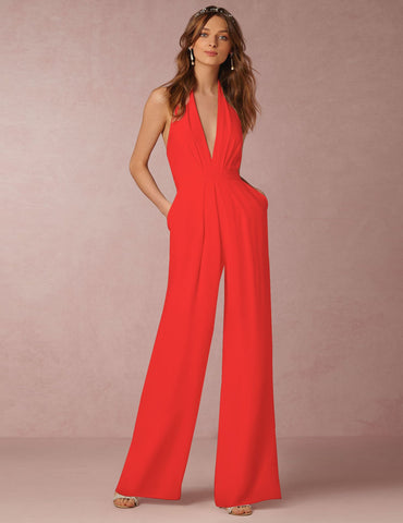 Sexy Sleeveless Halter Deep V-Neck Solid Casual Jumpsuit
