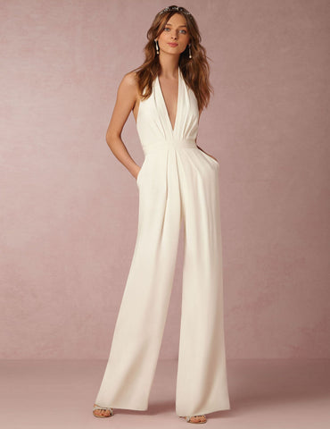Sexy Sleeveless Halter V-Neck Solid Casual Jumpsuit