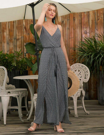 V-Neck Lace-Up Back Slit Legs Stripe Jumpsuit